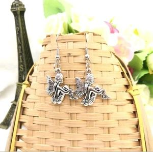 Antique Silver Dangling Fairy Earrings